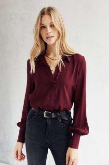 YOINS Burgundy Button-Down Chiffon Shirt - intl