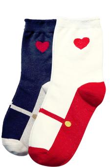 2 Pairs of Women Ladies Girls Love Pattern Socks Winter Warm Socks Navy and White