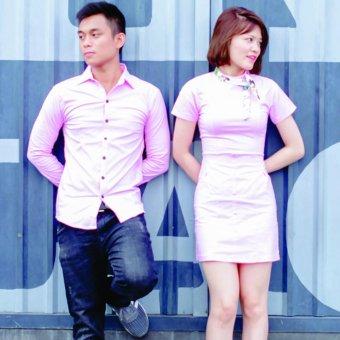 Sét Áo Váy Cặp Màu Hồng Tặng Kèm Khăn Quàng Cổ
