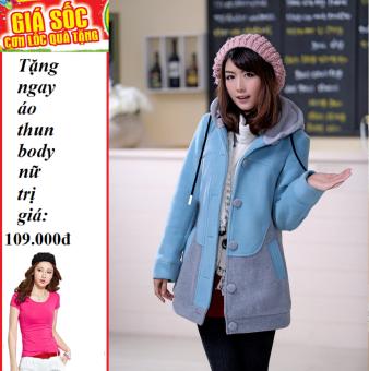 Áo Khoác nữ kitty (xanh) + Tặng áo thun body nữ