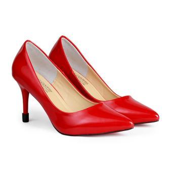 Giày Nữ Gót Nhọn 9 cm Da Bóng HC1347 (Đỏ)