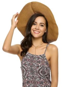 Cyber Women Fashion Summer Spring Bunch Straw Braided Round Wide Hat ( White ) - intl