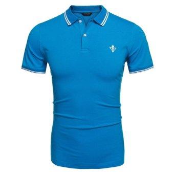 Linemart COOFANDY Men Fashion Casual Turn Down Collar Short Sleeve Slim Fit Polo Shirt T Shirt Tops ( Blue ) - intl