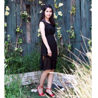 Đầm đen lụa tay rớt Cocoxi 18DT06