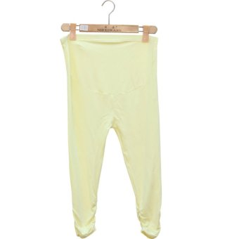 Summer Maternity Pants Adjustable Capri Leggings Pregnant Women Clothes Comfortable Leggings (Yellow) - intl