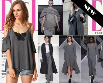 Sunweb Finejo Fashion Women Casual Spaghetti Strap Off Shoulder Flare Sleeve Loose Blouse Tops With Lace Applique ( Gray ) - intl