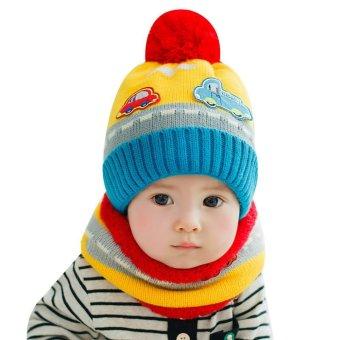 New Cute Baby Girl Boy Knitted Hat Scarf Set Car Pattern Fleece Warm Cap Neck Warmer Two-Piece Set - Intl