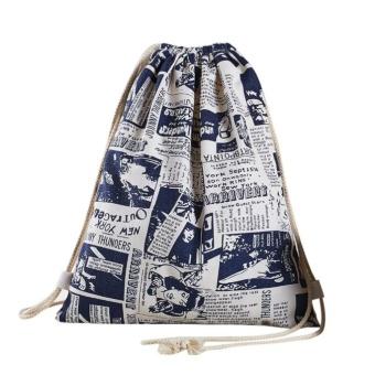 Unisex Drawstring Beam Port Backpack Shopping Bag Travel Bag - intl