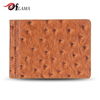 FLAMA Stylish PU Leather Press Print Cash Clip Small Card Wallet For Men(Brown) - intl