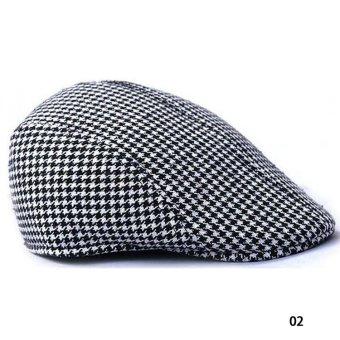 Fancyqube Vintage Grid Pattern Berets Leisure Hat 02 - Intl