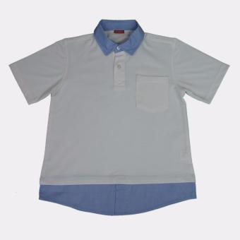Áo thun polo trẻ em Antix màu trắng cổ xanh