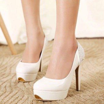 Giày cao gót kín mũi phối kim tuyến G20 (Trắng)