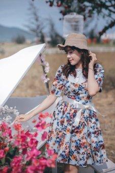 Đầm xòe vintage hoa Nâu JOLY JSDT02