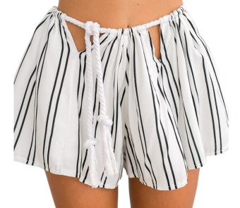 Zaful Woman Loose Pant Bandage Vertical Stripe (White) - intl
