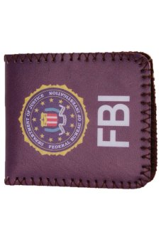 LALANG Unisex PU Wallet Multifunction Printed Purse FBI (Blue) - intl