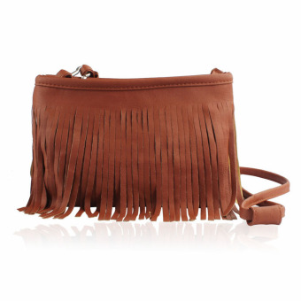 Hot Tassel Shoulder Messenger Clutch Baguette Handbag Women Satchel (Brown)