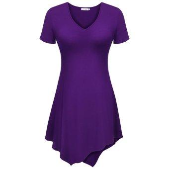 Linemart Meaneor Women Casual V-Neck Short Sleeve Irregular Asymmetric Solid Mini A-Line Dress ( Purple ) - intl