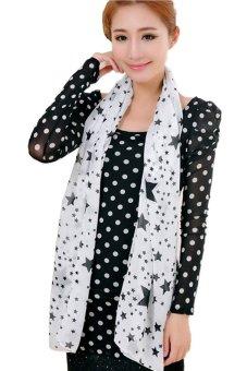 Women Lady Dots Spot Chiffon Soft Shawl Scarf Neck Wrap Headscarf(White) - Intl