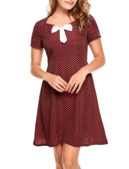 Sunweb Women Vinatge Style Short Sleeve Dots Party Slim A-Line Dress ( Red ) - intl