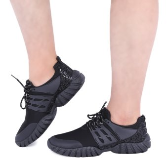 Casual Pure Color Round Toe Lace Up Sports Shoes for Male(Black) - intl
