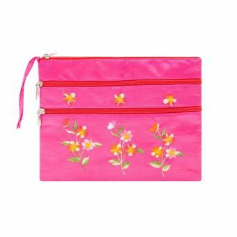Ví cầm tay 3 khóa Hoian Gifts vải lụa thêu hoa (Hồng)