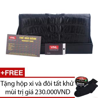 Bóp ví nữ da cá sấu thật chính hãng Da Giày Việt Nam VNLLCSV12AZA57Q (Đen) + Tặng hộp xi và đôi tất khử mùi