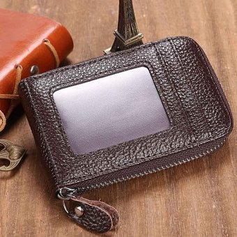 Linemart Mens/Womens Fashion Mini Synthetic Leather Wallet ID Credit Cards Holder Organizer Purse ( Coffee ) - intl