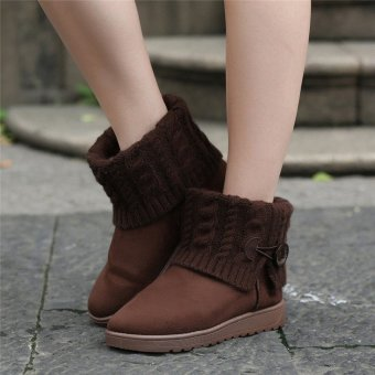 Women's Suede Knit Thicken Ankle Snow Boots Wool Short Booties Winter Warm Shoes - intl