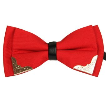 Decorated Party Neck Bowtie Men's Fashion Commercial Bow Tie Red
