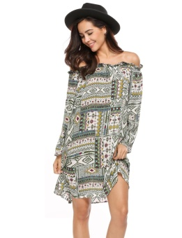 Cyber Women Vintage Style Flare Sleeve Off-shoulder Geometric Shift Loose Beach Dress ( Green ) - intl