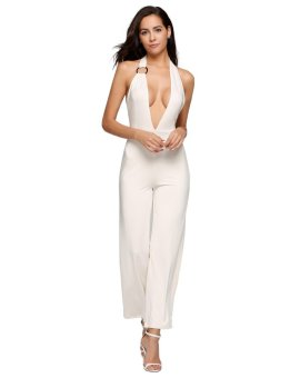 Cyber Plunge Halter Backless Sleeveless Solid Empire Jumpsuits ( Beige ) - intl
