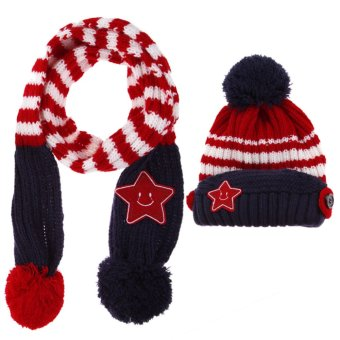 New Winter 5-Star Children Scarf Hat Set kids Hats & Caps(Red) - Intl