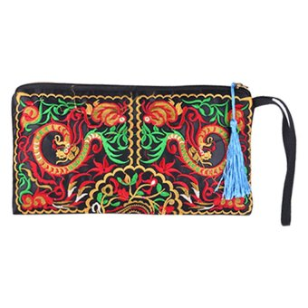 Bluelans Women's Retro Ethnic Embroider Double Dragons Purse Card Coin Holder Phone Bag (Intl)
