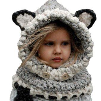 Baby Unisex Knitted Hat Fox Style 3D Ears Button Hooded Scarf Shawl Winter Warm Animal Cap Headwear Gray - intl