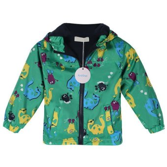Sunweb Arshiner Baby Boys Fleece Animal Print Waterproof Rainproof Hooded Zipper Coat Jacket (Green) - intl