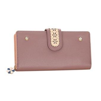 Women Long PU Leather Clutch Wallet Floral Card Holder (Bean Red) - intl