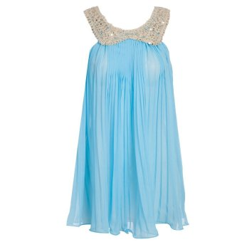 Sweet Girls Chiffon Dress With Sequins Sleeveless Ruffle (Light Blue) - Intl