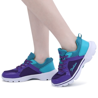 Casual Color Block Mesh Lace Up Ladies Sports Shoes(Blue and Purple) - intl