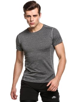 Cyber Men Short Sleeve Patchwork Wicking Breathable Quick Dry T-Shirt Sportswear ( Dark Grey ) - intl