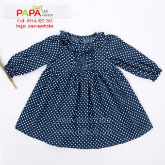Đầm Chấm Bi Cổ Bèo Tay Nhún Chun Papa Fashion