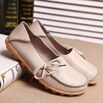 Women Shoes Leather Beanie Flat Shoes Summer Spring Autumn Slip-on Knot Non-slip Woman Ladies Soft Loafers Flats Beige - intl