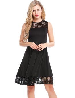Linemart Women Casual O-Neck Sleeveless Lace Hollow Out Patchwork A-Line Pleated Hem Elastic Dress ( Black ) - intl