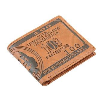 Moonar Men's Fashion Creative US Dollar Pattern Bi-fold PU Leatehr Wallet (Lirght Brown) - intl