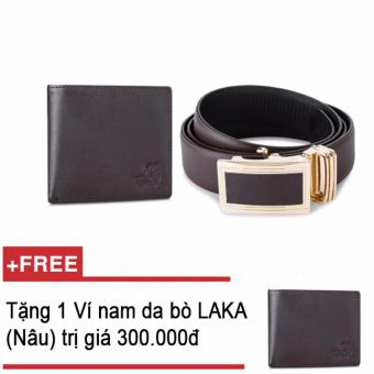 Bộ ví và thăt lưng nam da bò thật LAKA nâu trơn + Tặng 01 ví nam da bò LAKA (Nâu trơn) trị giá 300.000đ