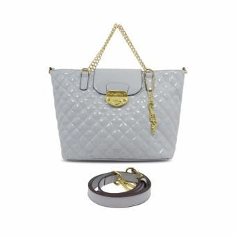 Túi shopper da bóng chỉ thêu Carlo Rino 0302698-003-38 (trắng ngà)