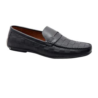Giày nam da bò thật vân ca rô cao cấp màu đen ESM36