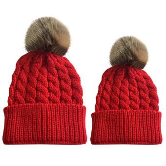 2 PCS Unisex Parents Adults Kids Knitted Woolen Yarn Knitting Winter Autumn Warm Outdoor Ski Cap Hat Red - intl