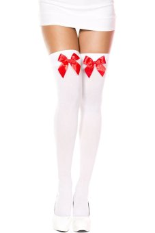 Bluelans Women's Stretch Lace Bow Thigh High Over The Knee Sexy Socks White + Red Bowknot (Intl)