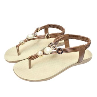 Women Casual Flat Sandals Crystal Beading Back Strap (Brown) - Intl