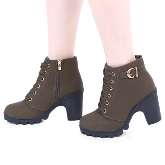Stylish Pure Color Lace Up Zipper Decoration Ladies Thick High Heel Ankle Boots(Army green) - intl